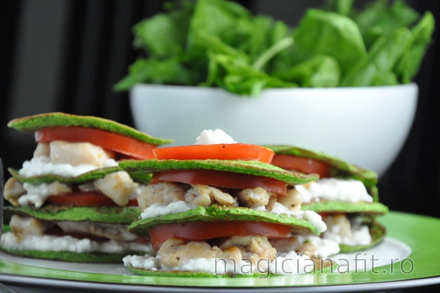 Clătite din spanac cu pui